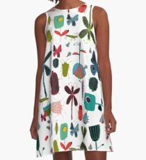 Insect watercolor white A-Line Dress