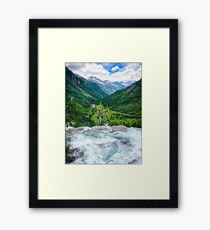 Waterfall in the Alps Framed Print