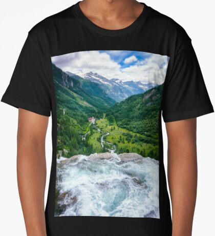 Waterfall in the Alps Long T-Shirt