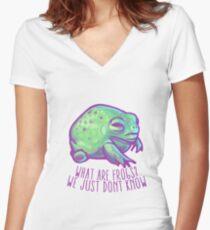 Was sind Frösche? Tailliertes T-Shirt mit V-Ausschnitt