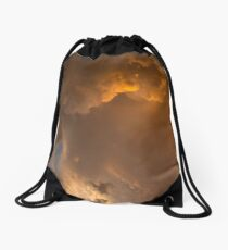 Storm Clouds Sunset - Dramatic Oranges - a Vertical View Drawstring Bag