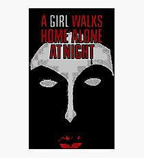 A Girl Walks Home Alone at Night Photographic Print