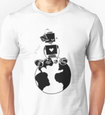Peace Robot sitting on Earth- black Unisex T-Shirt