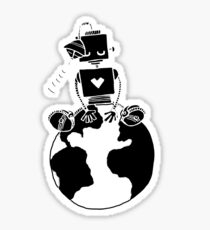 Peace Robot sitting on Earth- black Sticker