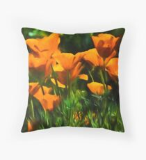 Brilliant Orange California Poppies - Impressions of Desert Spring Throw Pillow