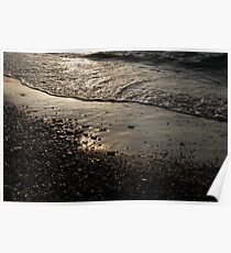 Golden Foam and Pebbles - Early Light at the Breakwater Poster