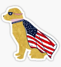 Patriotic Golden Retriever Silhouette - Preppy Super Dog Sticker