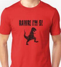 Funny 5th Birthday Dinosaur T Shirt  Unisex T-Shirt