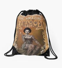 The Amazing Tattooed Lady Drawstring Bag
