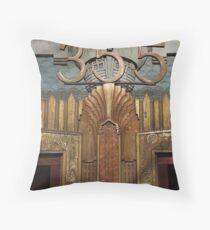 Art deco,gold,metallic,door,elevator,1920 era, original,digital Photo Throw Pillow
