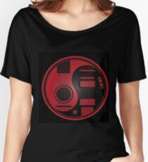 Guitar Yin Yang - Red Black Women's Relaxed Fit T-Shirt