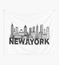 New York City Skyline and Text Black and White Illustration Wall Tapestry