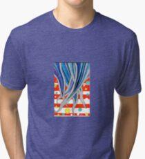 Wavy Doodle Design 6 Tri-blend T-Shirt