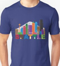 Seattle City Skyline andText Colors Illustration Unisex T-Shirt