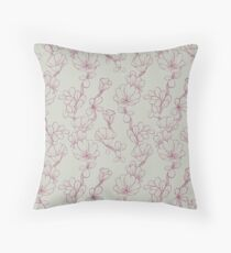Succulent Flowers in Sage & Burgundy Throw Pillow