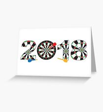 2018 Numerals with Dartboards and Darts Illustration Greeting Card