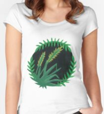 Quack Grass Botanical Painting Women's Fitted Scoop T-Shirt