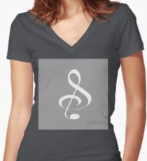 Treble Clef Women's Fitted V-Neck T-Shirt