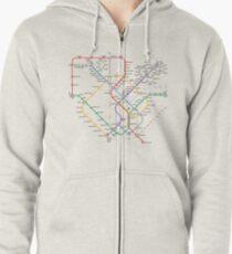 Singapore Rail Map Zipped Hoodie