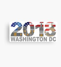2018 Washington DC USA Flag Outline Illustration Canvas Print
