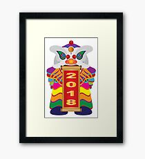Chinese New Year Lion Dance with 2018 Scroll Illustration Framed Print