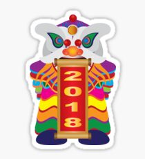Chinese New Year Lion Dance with 2018 Scroll Illustration Sticker