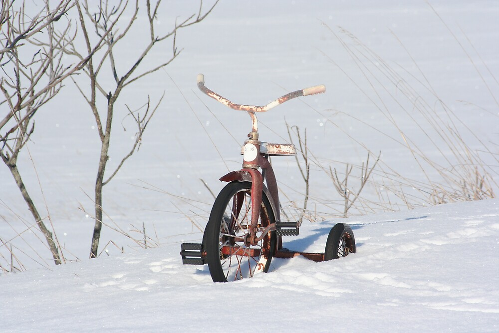 Children bike in the snow by smobou