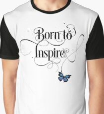 Born To Inspire Cute Modern Motivational Lettering Text With Butterfly Graphic T-Shirt
