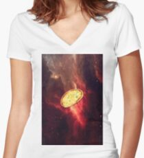 Garlic Bread Galaxy - Red Women's Fitted V-Neck T-Shirt