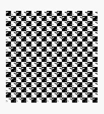 Black and White Checkerboard Scales of Justice Legal Pattern Photographic Print