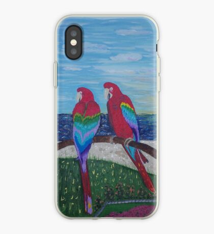 Parrots Chatting by the Sea iPhone Case