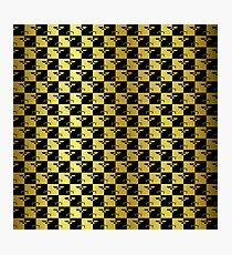 Black and Gold Checkerboard Scales of Justice Legal Pattern Photographic Print