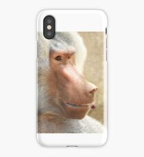 Baboon with a cherry in the teeth iPhone Case/Skin