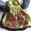 Shot Silk French Knot Embroidered bag by Donna Huntriss