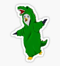 Penguin in a Dino Suit Sticker
