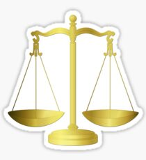 Gold Scales Of Justice on Black keeping law and Order Sticker