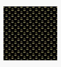 Gold Scales Of Justice on Black Repeat Pattern All Over Print  Photographic Print