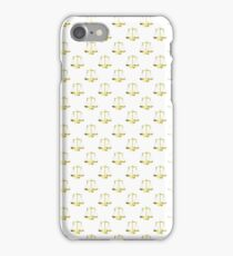 Gold Scales Of Justice on White Repeat Pattern  iPhone Case/Skin