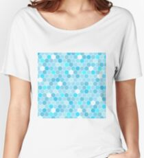 Colourful Blue Mermaid Tile Pattern Women's Relaxed Fit T-Shirt