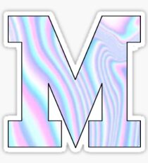 Pink and Blue Holographic Initial M Sticker