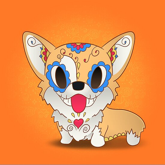 Pickles the Corgi Day of The Dead | PopMuertos by abowersock