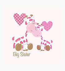 Big Sister cute baby giraffes and hearts Photographic Print