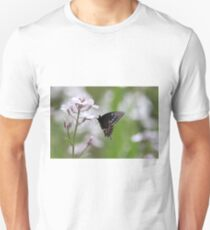 Black Swallowtail Butterfly on white flowers Unisex T-Shirt