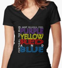 Purple Yellow Red and Blue (Portugal. The Man) Women's Fitted V-Neck T-Shirt