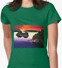 Purple Sunset Landscape Painting Womens Fitted T-Shirt