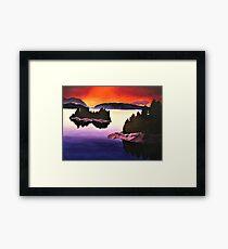 Purple Sunset Landscape Painting Framed Print