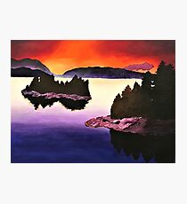 Purple Sunset Landscape Painting Photographic Print