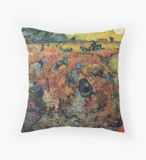 The Red Vineyards Oil Painting on Burlap by Vincent van Gogh Throw Pillow