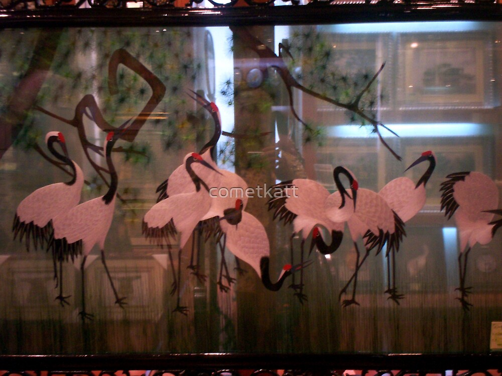 See Through silk embroidery  Cranes by cometkatt