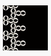 Pattern - Infinity stripe White Ribbon on Black Photographic Print